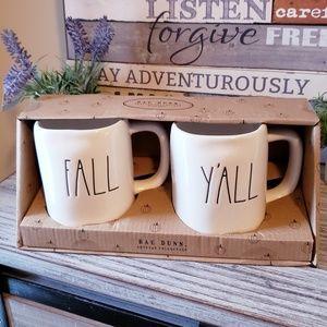 NEW Rae Dunn 2 Mug Set FALL Y'ALL New In Box